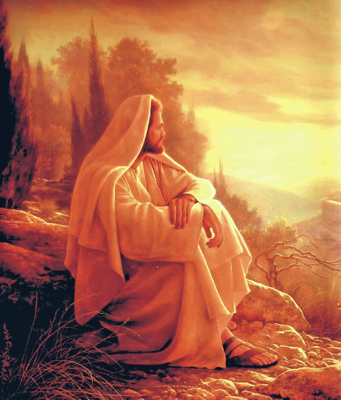 Jesus Sitting on Mountain